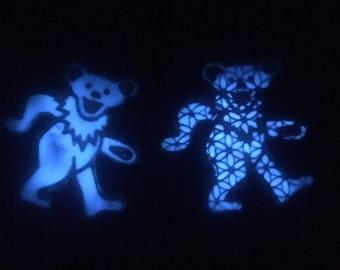 Grateful Dead BRIGHT glow in the dark wooden deady bear pin