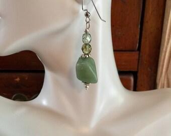Green aventurine and Czech bead drop earrings pierced
