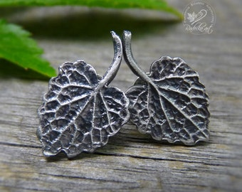 Silver Leaves Post Earrings, Metalwork, Metal Clay Earrings, Silver Leaf, Minimalist Jewelry, Gift For Her