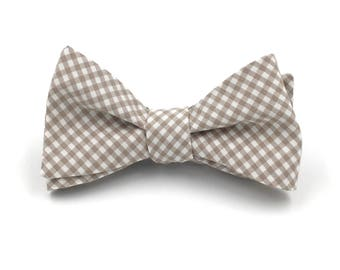 Beige Bow Tie, Tan and Beige Checker Print, Gingham Bowtie, Groomsmen Wedding Ties - Self-Tie or Pre-Tied Style - LIMITED QUANTITY AVAILABLE