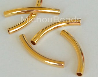 6 Bright GOLD 26mm Curved Noodle TUBE Beads - 26X3mm w/ large 2.1mm Hole Metal Tube Findings - USA Wholesale Bulk Discount Beads - 5868