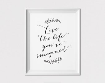 Inspirational art print, Poster, Wall Art, Quote print, Live the life you've imagined, Wall Decor, Home Decor, ArtFilesVicky