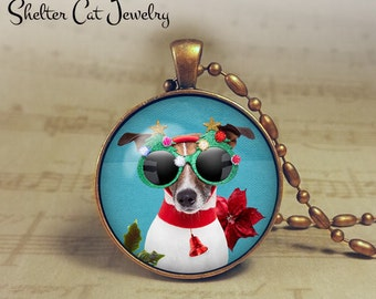 "Christmas Jack Terrier Puppy in Santa Hat w/ Big Glasses Necklace - 1-1/4"" Circle Pendant or Key Ring - Humor Christmas Dog - Present - Gift"