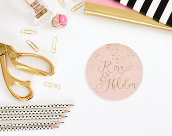 Rose Gold Stickers, Calligraphy Inspired Wedding Invitation or Favor Stickers