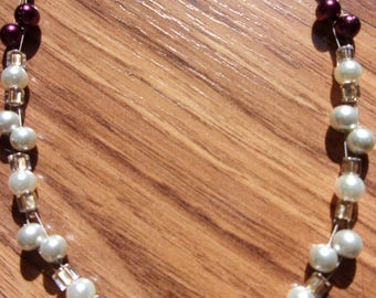 celtic cranberry and silver tigertail necklace