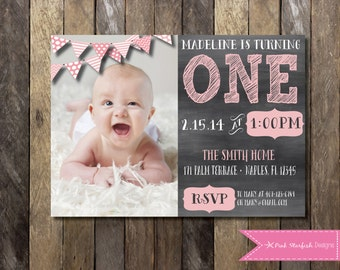 Chalkboard first birthday invitation with picture chalkboard chalkboard first birthday invitation with picture chalkboard invitation 1st birthday invitation printable invitation filmwisefo