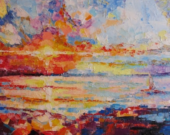 """Oil painting """"Sunset"""" ORIGINAL oil painting on canvas seascape sunset modern art impressionism gift Without intermediaries"""