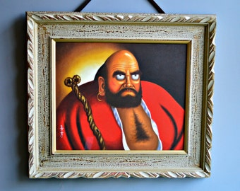 Large Daruma Bodhidharma Oil Painting on Canvas. Japanese Art