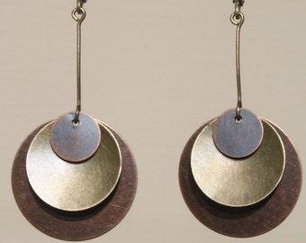 Boho Earrings Bohemian Earrings Boho jewelry Dangle Drop Earrings Bohemian Jewelry Mixed Metal Earrings Copper Gift For Her Gift For Women