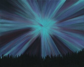 Aurora Borealis Burst. Northern Lights Painting. Alaska Painting.  Wall Art.  Home or Office Decor.  Artist Eva Tormey.