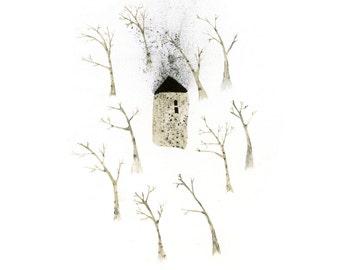 Mixed media illustration - Winter Garden - Art print in three sizes