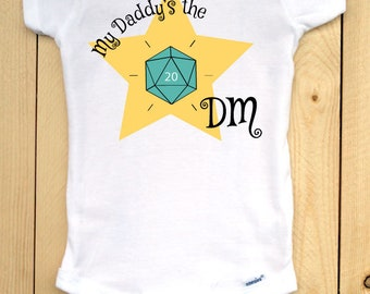 Dungeons and Dragons infant onesie with teal d20/ My Daddy's the DM/ RPG baby outfit/ baby shower gift for gamers/ role playing games