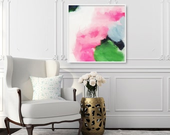 Jenny, 6x6-36x36in, Abstract Fine Art Print, large abstract print, green abstract, blue abstract, pink abstract