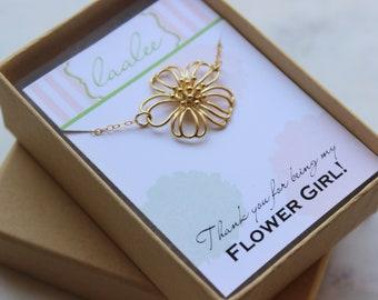 Flower Girl Bracelet, Flower Girl Gift, Flower Girl Jewelry, Flower Girl Proposal, Thank you for being my Flower Girl, Gold Flower Bracelet