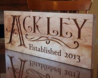 Last Name Established Sign, Personalized Family Name Sign, Last Name Sign, Personalized, Custom Sign, Benchmark Custom Signs, Cherry QQ