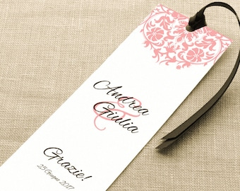 Thanksgiving placeholder. Bookmark Thanksgiving Wedding. Fake pink lace placeholder with ribbon or without.