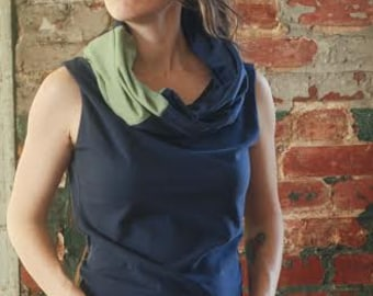 ORGANIC Convertible NOMAD TOP vest patchwork cowl infinity hood custom handmade Organic Clothing