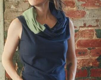 ORGANIC Convertible NOMAD TOP vest patchwork cowl infinity hood custom handmade Organic Clothing