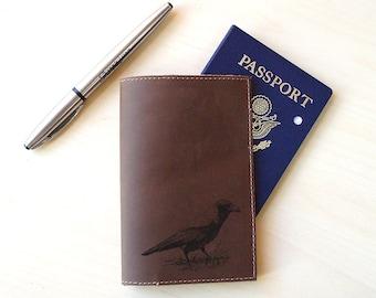 Handmade Leather Passport Holder [Multicolor] [Customizable] [Crow]