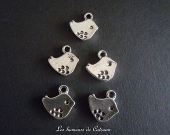10 charms birds silver-plated 15x14mm