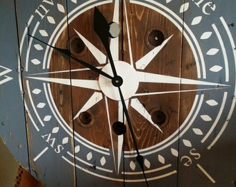 48 inch Cable Spool Farmhouse Clock Oversized Shabby Chic