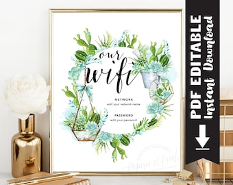 WIFI Password Sign - Guest Room Wall Art - Internet Password Sign - Housewarming - Succulent - Instant Download Editable PDF File Printable