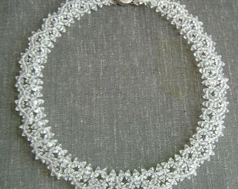 Special Price - 1950s Natural Iridescent Crystal Choker Necklace Excellent Condition