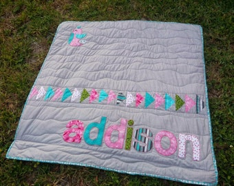 Modern Personalized Baby Girl Quilt