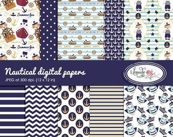 50%OFF Nautical digital papers, nautical scrapbook paper, nautical patterns, summer digital papers, commercial use digital paper P 438