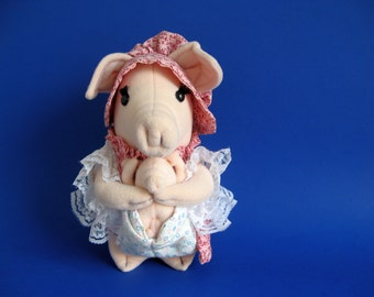 Vintage Mama Pig and Baby Piglet Stuffed Animal Russ Berrie Betty Kane Personality Piggs Pink Dress Bonnet Curly Pig Tail 1980  Mother's Day