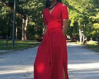 SALE Maxi Wrap Dress Red