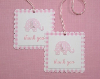 10 Baby Shower Tags for Favors - Baby Tags - Pink Baby Elephant Tags - Baby Shower Tags - Baby Elephant Tags - Gift Tags
