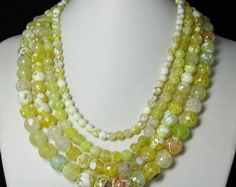 Necklace 17 inch IN 4 strands Yellow Fire Agate faceted Beads
