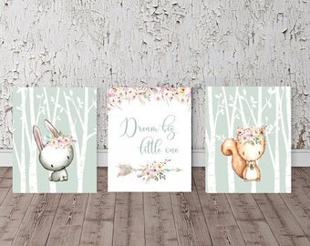 Set of 3 Woodland animals, Baby animal prints, Partytwo, woodland nursery, Forest theme, Wildflower nursery, Dream Big Quote, Mint and blush