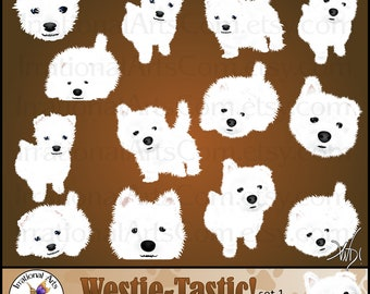 Westie-tastic Dog Graphics set 1 - 13 digital graphics with 10 adorable dogs and 3 faces {Instant Download}