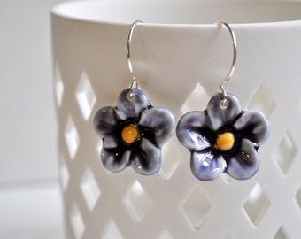 Purple Porcelain Posies- Porcelain Flower Earrings in Deep Violet