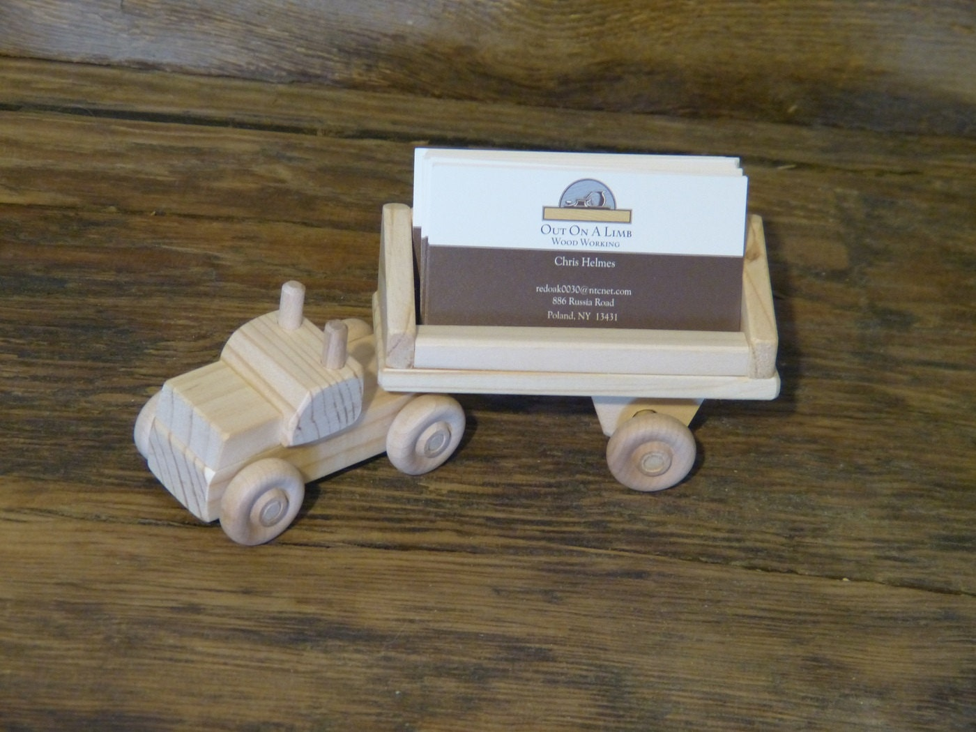 Handmade Wood Truck Business Card Holder Desk Accessories Mens