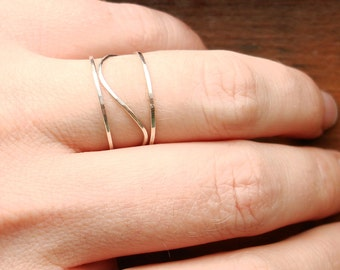 Three SOLID 14k or 18k Gold Rings - Rose Gold - White Gold - Yellow Gold - Hammered Stack Rings -  Mixed Metals - Delicate