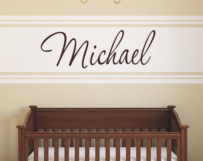 Custom Boy Name Wall Decal // Baby Boy Nursery Wall Decor // Boys Room Decor // Customized Name Decal // Childrens Wall Decor