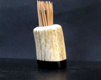 Nice Elk Antler Toothpick Holder, Match Stick Holder,Ebony Wood Base, TP-58