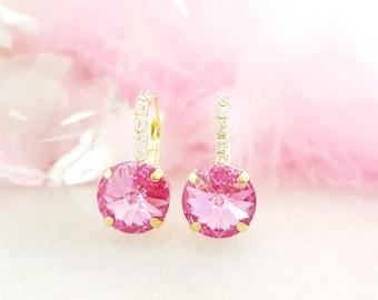 Pink Crystal Earrings - Swarovski Cluster Earrings - Pink Rhinestone Earrings - Pink Diamond Gold Drop Earrings - Pink Birthstone Gift E3377