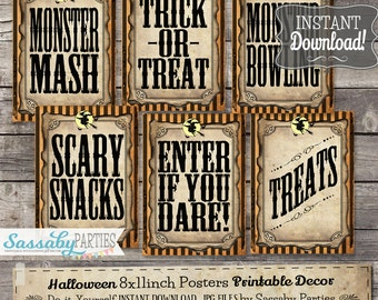 Halloween Party/Game Signs - INSTANT DOWNLOAD - Trick or Treat, Games, Sideshow Alley Printable Party Decorations by Sassaby Parties