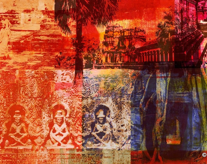 Cambodia Mixed Media II by Sven Pfrommer - Artwork is ready to hang with a solid wooden frame