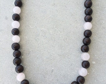 Rose quartz and wood bead necklace