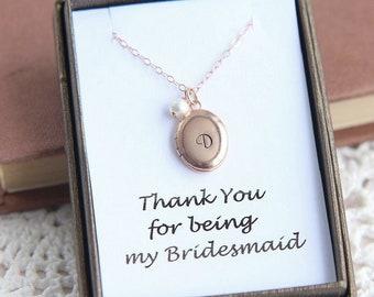 Bridesmaid Gift, Bridesmaid Necklace, Locket Necklace, Personalized Locket Necklace, Initial Locket, Rose Gold Oval Locket, Flower Girl Gift
