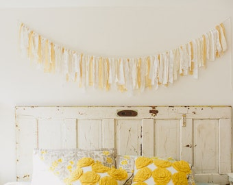 Cream Fabric Garland, Cream Wedding Decor, Fabric Banner, Baby Girl Shower Decor, Photo Prop, Rag Tie Garland, Ivory and Lace