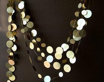 Christmas decor, Christmas garland, Gold wedding garland, Gold garland, Shimmer garland, Wedding decor, Circle paper garland, KMG-0001