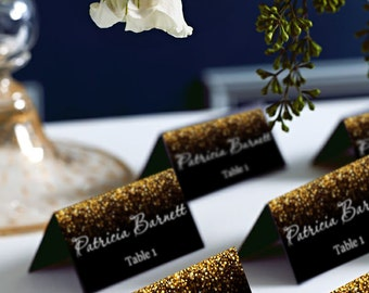 Black and Gold Glitter Tent Wedding PlaceCard, Place Cards, DIY Place Card Printable, code-024-1