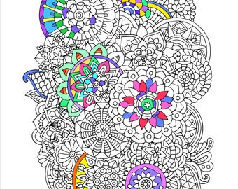 Printable Mandala Doodle Coloring Page