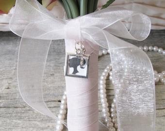 Silver Photo Frame Bouquet Charm, Square Bouquet Charm